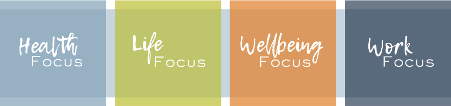 Health focus, life focus, wellbeing focus, work focus circle diagram