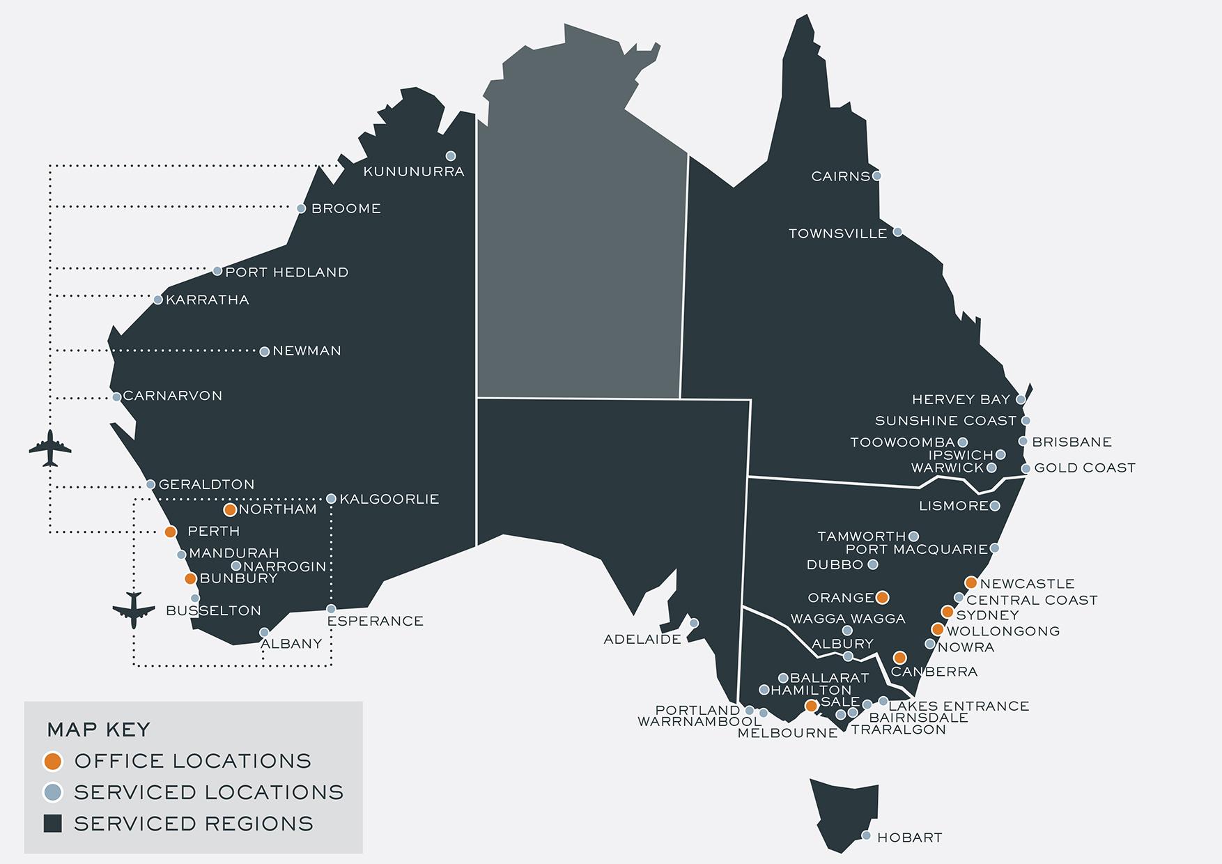WorkFocus Australia Regional Services Map